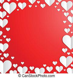 snitt, ram, valentinkort, papper, hjärtan, dag