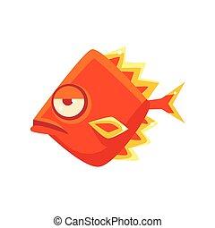 Snobbish Orange Diamon Shaped Fantastic Aquarium Tropical Fish Cartoon Character