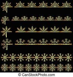 Snoflakes ribbons set golden - Vector snoflakes ribbons set...