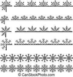 Snoflakes ribbons set - Vector snoflakes ribbons set