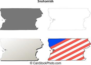 Snohomish County, Washington outline map set