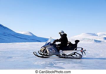 Snomobile - A snowmobile on a beautiful winter mountain...