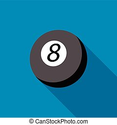 Snooker 8 pool icon, flat style