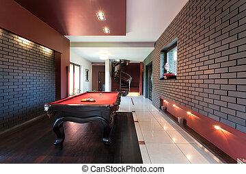 snooker asztal, alatt, fényűzés, belső