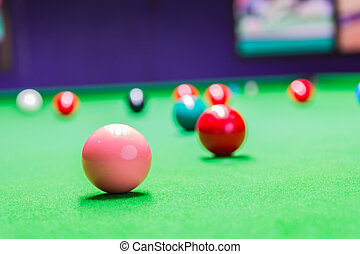 Snooker ball on snooker table