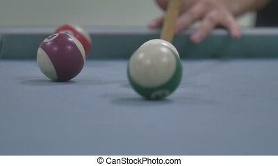 snooker ball Pool pocket billiards on snooker table slow...