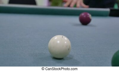snooker ball Pool pocket billiards on snooker table. the man...