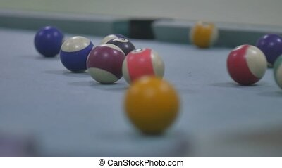 snooker ball Pool sport pocket billiards on snooker table...
