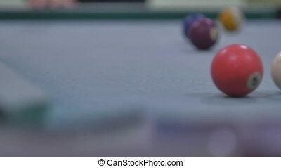 snooker ball sport Pool pocket billiards on snooker table...