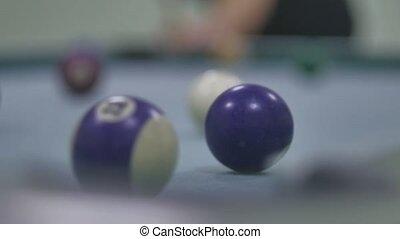 snooker ball sport Pool pocket billiards on snooker table slow motion video. man plays pool billiards