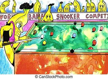 snooker, banane