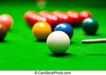 snooker - closeup of aiming the cue ball