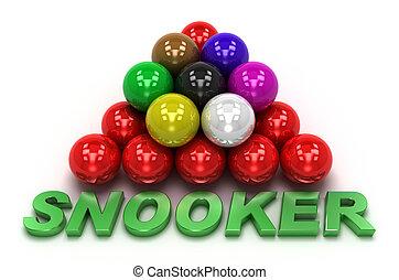 snooker, concetto, isolato, bianco