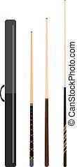 Snooker cue billiard sticks cartoon flat vector illustration...