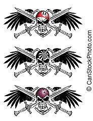snooker, darts and bowling shield e - three skull emblems...
