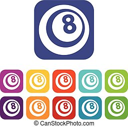 Snooker eight pool icons set flat