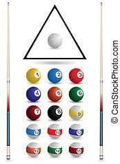 snooker, ensemble, balle