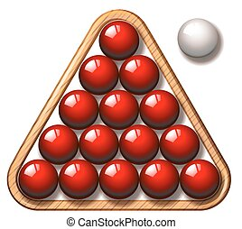 Snooker balls in red and white