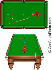 snooker - The snooker table with a cue and balls isolated on...