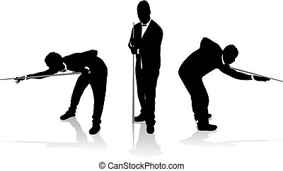 snooker players - set of snooker player silhouettes