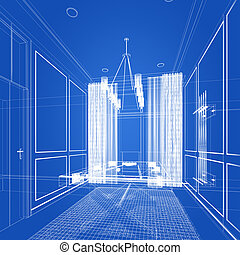 snooker room interior design. 3d rendering