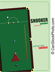 Snooker table and cue poster. Billi