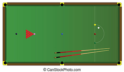 Snooker Table - A typical full size snooker table with balls...