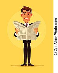 snopen, kontorsarbetare, man, tecken, läsa, tidning., vektor, lägenhet, tecknad film, illustration