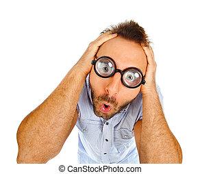 snopen, uttryck, av, a, ung man, med, tät, glasögon