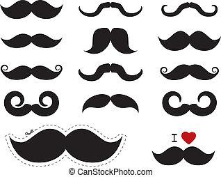 snor, /, mustache, iconen, -, movember