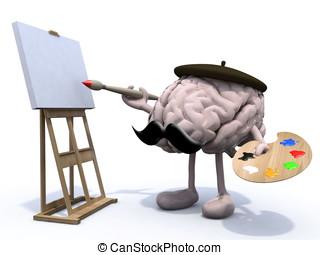 snor, schilder, benen, hersenen, menselijk, armen
