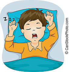 Snoring Boy - Illustration of a Boy Snoring While Sleeping