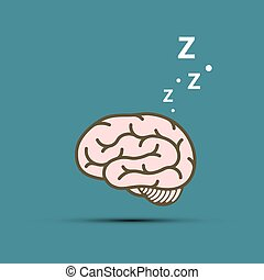 Snoring human brain. Vector flat graphics style. - Snoring ...