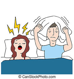 An image of a snoring wife.
