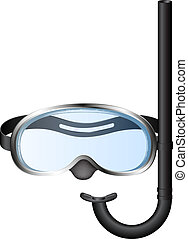 Snorkel and mask for diving isolated on white background