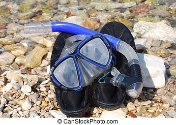 Snorkel and mask, Meganissi - A snorkel and mask on the...