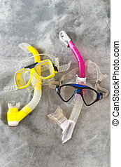 Snorkel and Mask Pair on Gray
