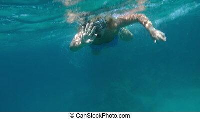 snorkel, femme, mer rouge, natation