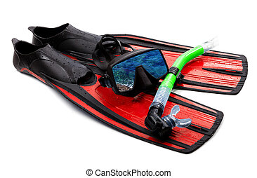 Snorkel, flippers and mask with reflection of blue sea