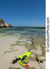 Snorkel gear at tropical beach