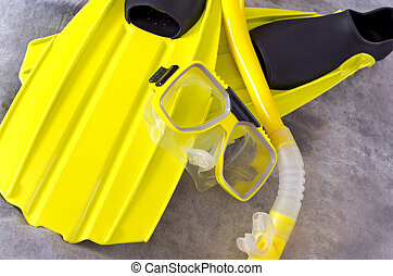 Snorkel Mask and Fins on Gray