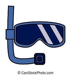 snorkel mask on white background