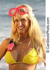 snorkel, mulher, máscara, sorrindo
