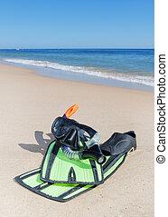 snorkel, plaża., płetwy, okulary, water.