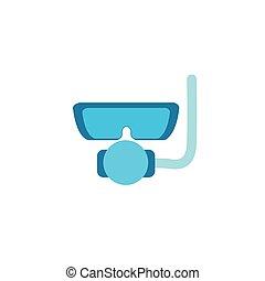 snorkel, plat, icône, masque, style