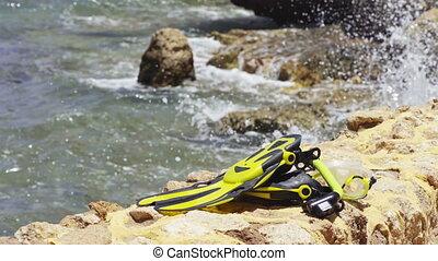 Snorkel set on seashore background - Snorkel set lying on...