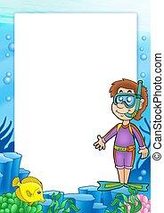 snorkel, ułożyć, 2, nurek