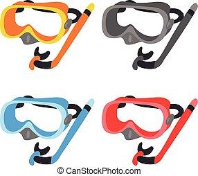 snorkel, vecteur, conception, collection