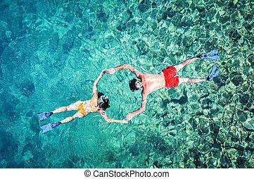 snorkeling, 夫婦, 雄峰, 射擊