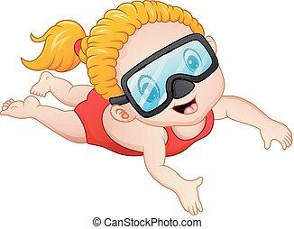snorkeling, 女孩, 卡通